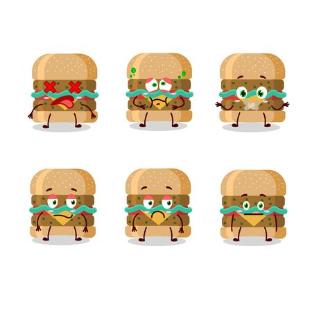 Hamburger cartoon in character with nope expression