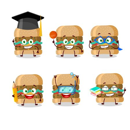 School student of hamburger cartoon character with various expressions Ilustração