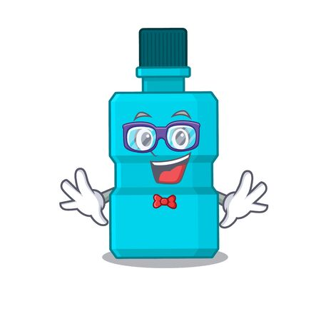 A caricature drawing of nerd mouthwash wearing weird glasses