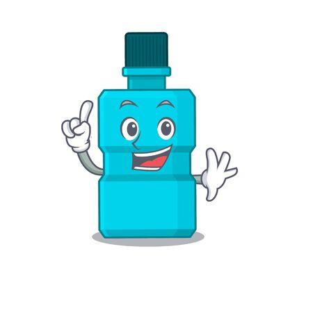 Mouthwash caricature design style with one finger pose