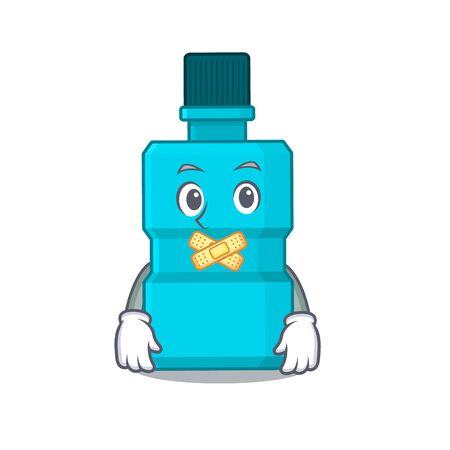Mouthwash cartoon character style having strange silent face