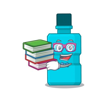 Mouthwash student mascot design read many books when study at home