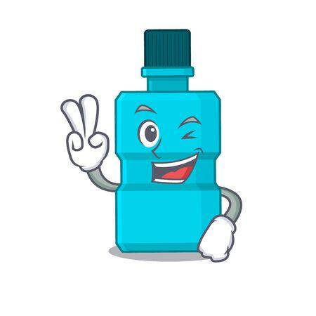 A joyful mouthwash cartoon mascot style show two fingers pose. Vector illustration