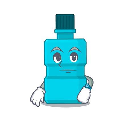 Mascot design style of mouthwash with waiting gesture. Vector illustration