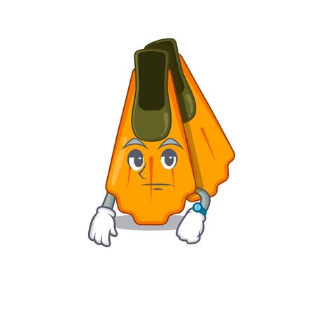 Mascot design style of swim fins with waiting gesture