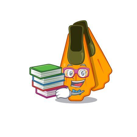 Swim fins student mascot design read many books when study at home Illusztráció
