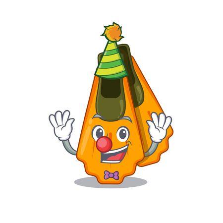 Friendly clown swim fins mascot design concept