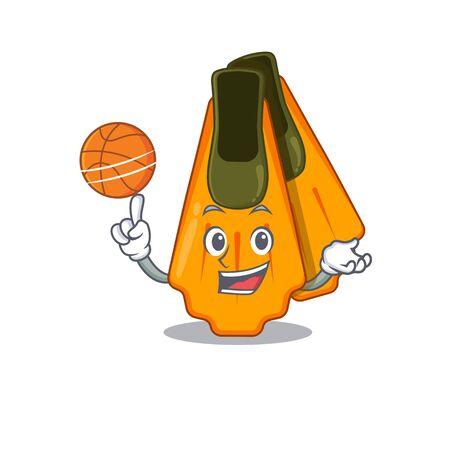 An athletic swim fins cartoon mascot design with basketball Illustration