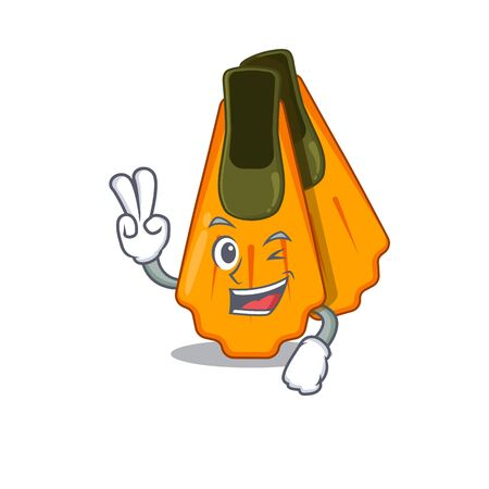A joyful swim fins cartoon mascot style show two fingers pose