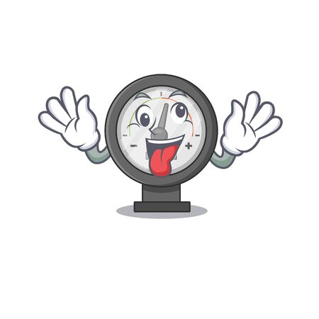 A mascot design of pressure gauge having a funny crazy face. Vector illustration