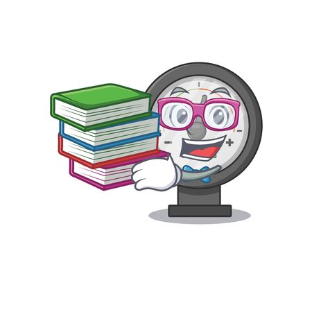 Pressure gauge student mascot design read many books when study at home. Vector illustration