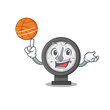 An athletic pressure gauge cartoon mascot design with basketball. Vector illustration