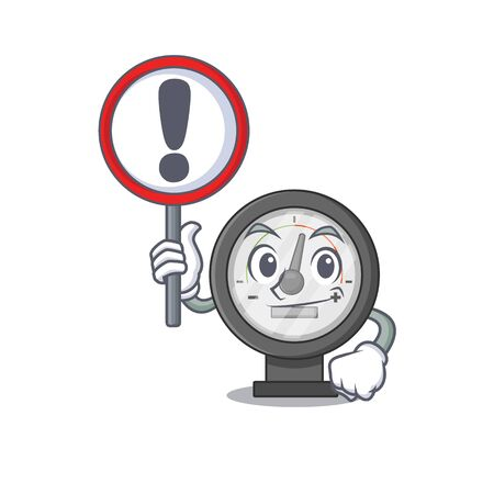 A cartoon icon of pressure gauge with a exclamation sign board. Vector illustration