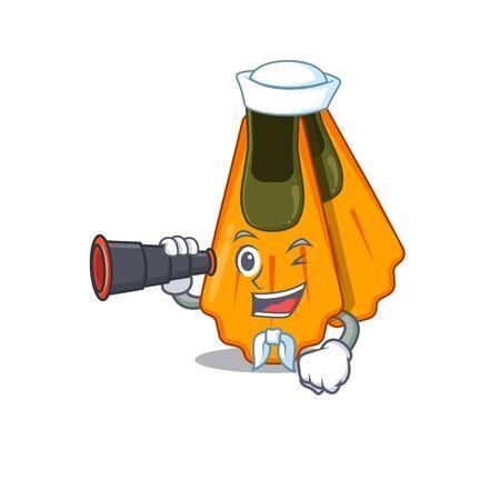 A cartoon image design of swim fins Sailor with binocular. Vector illustration