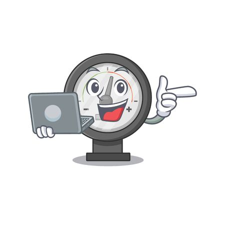 A neat cartoon character of pressure gauge l working at home during pandemic. Vector illustration Vecteurs