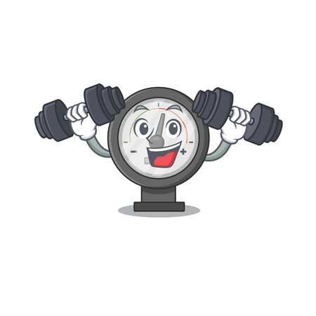 Muscular pressure gauge mascot design with barbells during exercise. Vector illustration