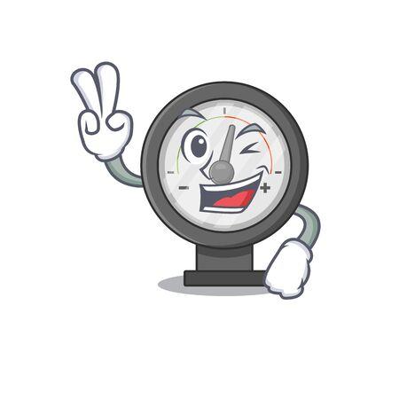 A joyful pressure gauge cartoon mascot style show two fingers pose. Vector illustration Stock Illustratie