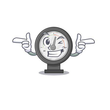 Caricature design concept of pressure gauge with funny wink eye. Vector illustration