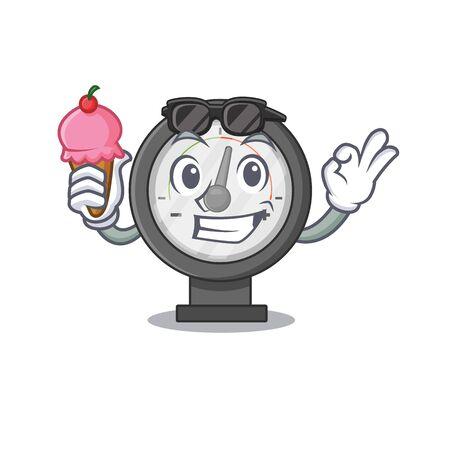 A Caricature design concept of pressure gauge with cone ice cream. Vector illustration Vecteurs