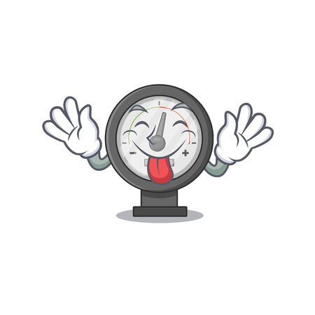 amusing pressure gauge cartoon picture style with tongue out face. Vector illustration Vektorové ilustrace