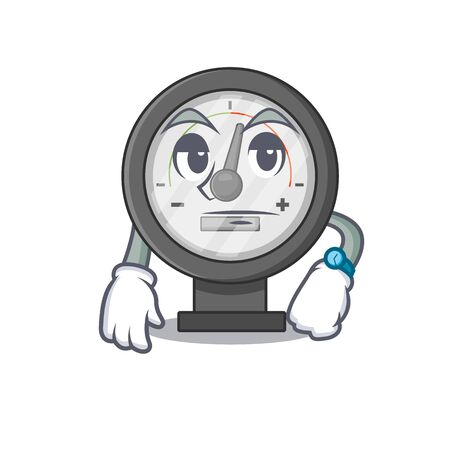 Mascot design style of pressure gauge with waiting gesture. Vector illustration Vettoriali