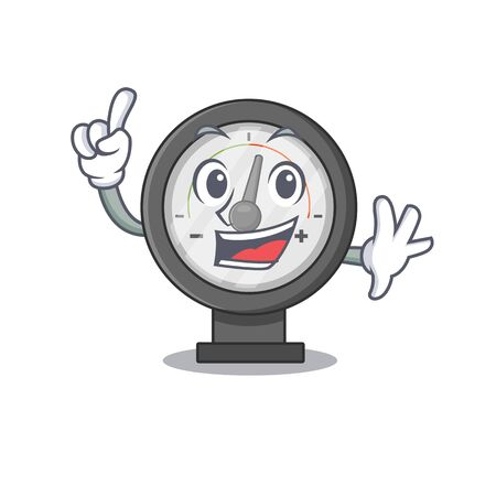 Pressure gauge caricature design style with one finger pose. Vector illustration