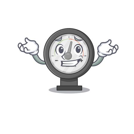 A sweet picture of grinning pressure gauge caricature design style. Vector illustration