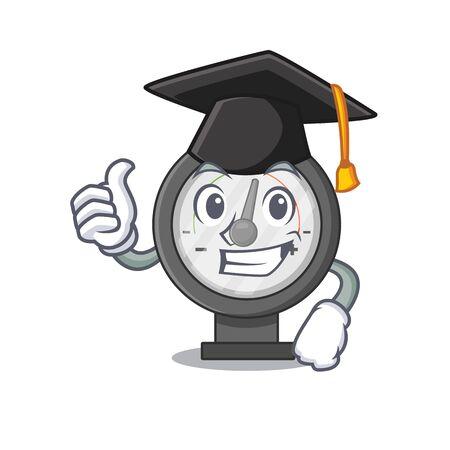 Pressure gauge caricature picture design with hat for graduation ceremony. Vector illustration Vecteurs