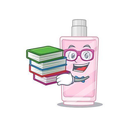 Perfume student mascot design read many books when study at home. Vector illustration Illusztráció