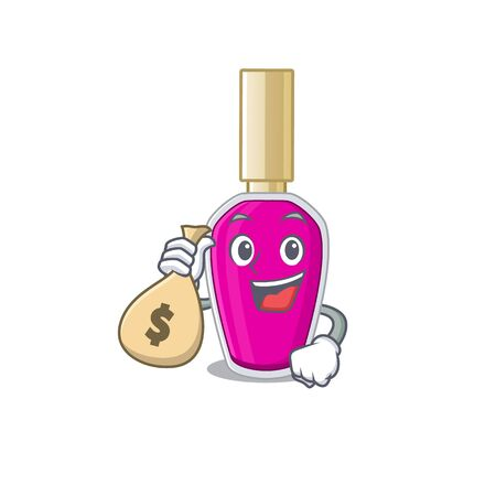Crazy rich Cartoon picture of pink nail polish having money bags. Vector illustration