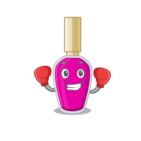 Pink nail polish Caricature character design as a champion of boxing competition. Vector illustration