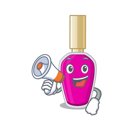 Pink nail polish carton picture style giving announcement on a megaphone. Vector illustration