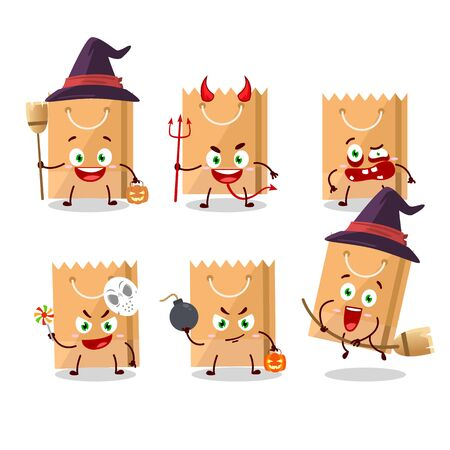 Halloween expression emoticons with cartoon character of grocery bag. Vector illustration