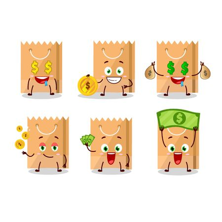Grocery bag cartoon character with cute emoticon bring money. Vector illustration