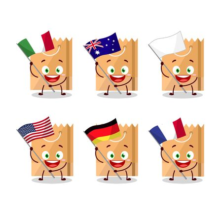 Grocery bag cartoon character bring the flags of various countries. Vector illustration