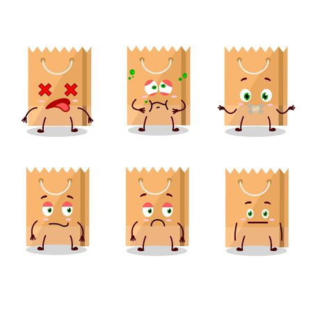 Grocery bag cartoon character with nope expression. Vector illustration