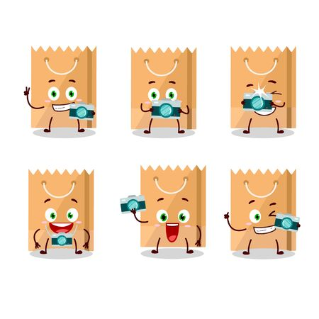 Photographer profession emoticon with grocery bag cartoon character. Vector illustration