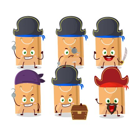 Cartoon character of grocery bag with various pirates emoticons. Vector illustration