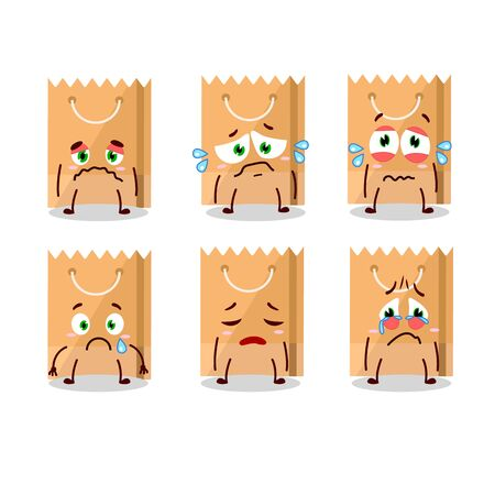 Grocery bag cartoon character with sad expression. Vector illustration Illustration