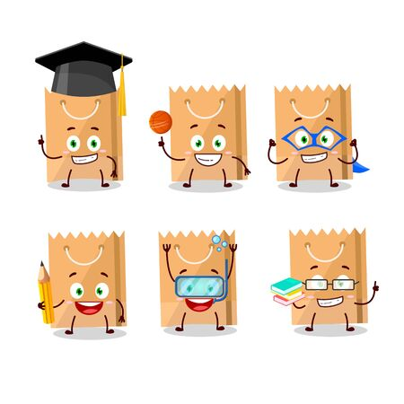 School student of grocery bag cartoon character with various expressions. Vector illustration
