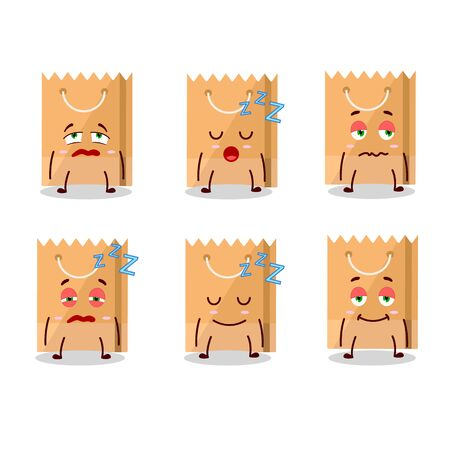 Cartoon character of grocery bag with sleepy expression. Vector illustration