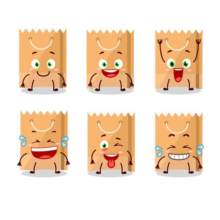 Cartoon character of grocery bag with smile expression. Vector illustration Illustration