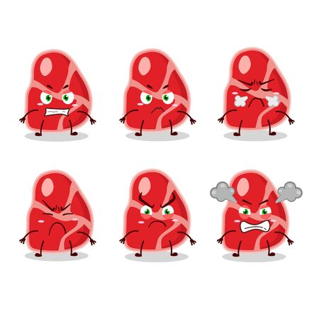 meat cartoon character with various angry expressions.Vector illustration