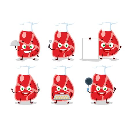 Cartoon character of meat with various chef emoticons.Vector illustration