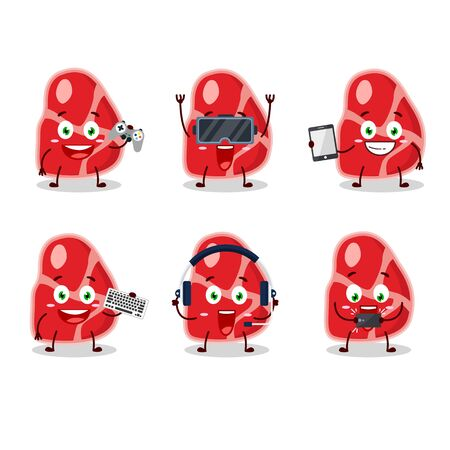meat cartoon character are playing games with various cute emoticons.Vector illustration Ilustração