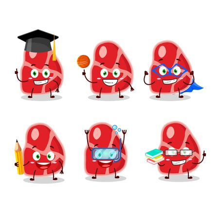 School student of meat cartoon character with various expressions.Vector illustration