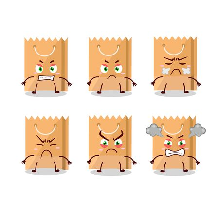 Grocery bag cartoon character with various angry expressions. Vector illustration