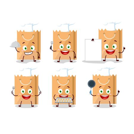 Cartoon character of grocery bag with various chef emoticons. Vector illustration Illustration