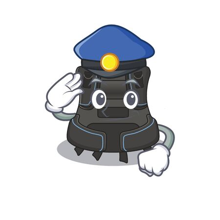 A handsome Police officer cartoon picture of scuba buoyancy compensator with a blue hat. Vector illustration Banque d'images - 150512204