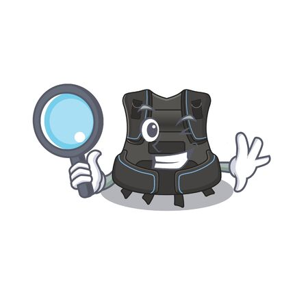 cartoon mascot design of scuba buoyancy compensator superb Detective breaking the case using tools. Vector illustration